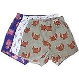 ROCK ATOLL Men's Buffalo Bison Flamingo Fox Animal Print Boxer Shorts Pack of 3 (Medium)
