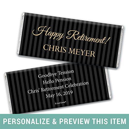 Stripes Personalized Chocolate (Retirement Party Favors - Personalized HERSHEY'S Bars Pinstripe Retirement (25 Wrappers))