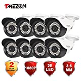 TMEZON 8 Pack HD-TVI HD 1080P 2.0MP Megapixel SONY Sensor Outdoor Camera 3.6mm Night Vision Infrared 36IR Lens Only Work with HD-TVI DVR White Review