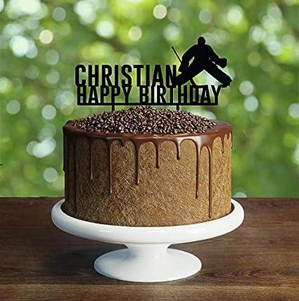 Amazon Com Hockey Personalized Birthday Cake Topper Silhouette
