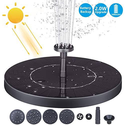(AISITIN Solar Fountain Pump, 1000mAh 2.0W Circle Solar Water Pump Floating Fountain Built-in Battery, with 6 Nozzles, for Bird Bath, Fish Tank, Pond or Garden)