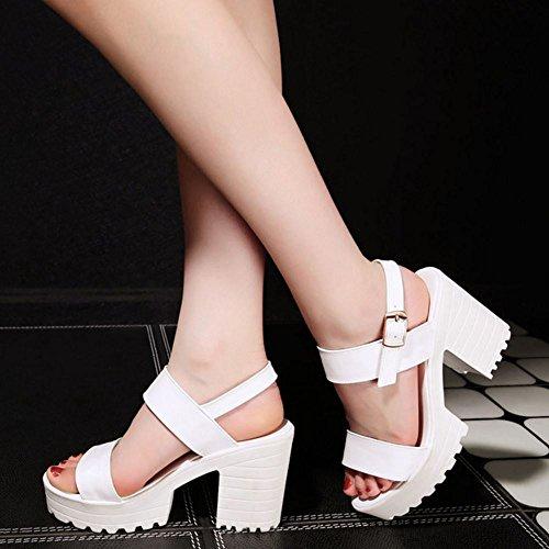 Block Zanpa White Sandals Women Heels Platform Fashion ppqUPI