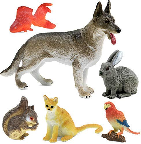 Click N' Play Pet Animal Figurine Playset, Assorted 6Piece Realistically Designed Domestic Home Pet Plastic Animals for Kids & Toddlers