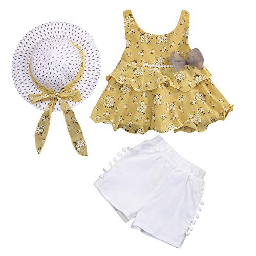Toddler Baby Girls Summer Clothes Sets Floral Bow-not Suspender Top + White Short Pant + Hat 3pcs (Yellow, -