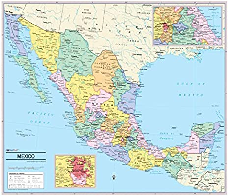 Amazoncom Cool Owl Maps Mexico Wall Map Poster Rolled 35x30 - Map-of-mexico-before-us-took-over