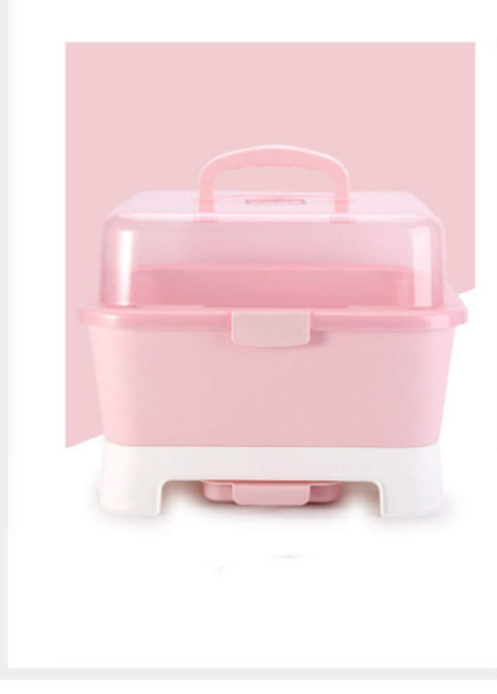 SLZ Bottle-FeedingBaby Bottle Holder Portable Baby Storage Box,Pink