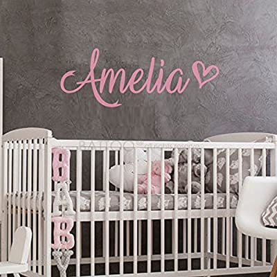 """BATTOO Fancy Personalized Custom Name Vinyl Wall Art Decal Sticker 22"""" w, Girl Name Decal, Girls Name, Nursery Name, Girls Name Decor, Girls Bedroom Decor Plus Free Hello Door Decal, Soft Pink: Baby"""