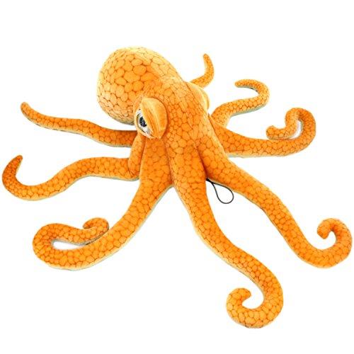 JESONN Giant Realistic Stuffed Marine Animals Soft Plush Toy Octopus Orange,33.5 Inch or 85 cm,1PC ()