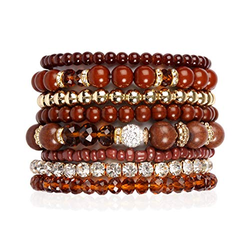 RIAH FASHION Multilayer Beaded Stretch Stacking Bracelets - Multi Strand Colorful Sparkly Beads Statement Wrap Slip-on Cuff Bangles (Mix Bead - Brown) ()