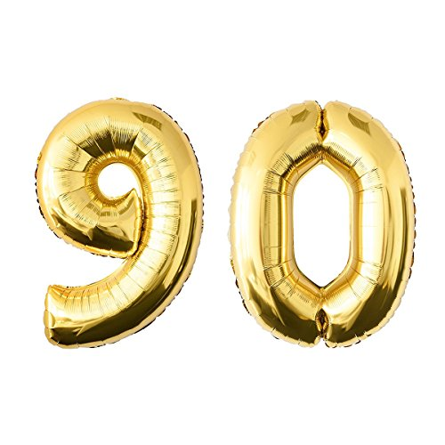 NUOLUX 40 Inch Gold Foil Balloon,Jumbo Number 90th Balloon for Festival Birthday Anniversary Party Decorations Photo Props]()