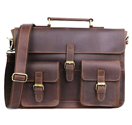 Cl Men's Travel Hunter Retro Real Brown Bag Messenger Imported Kindle 8 Body Briefcase Leather Cross Distressed Ipad For Shoulder Dark Tablet rr4Pqd