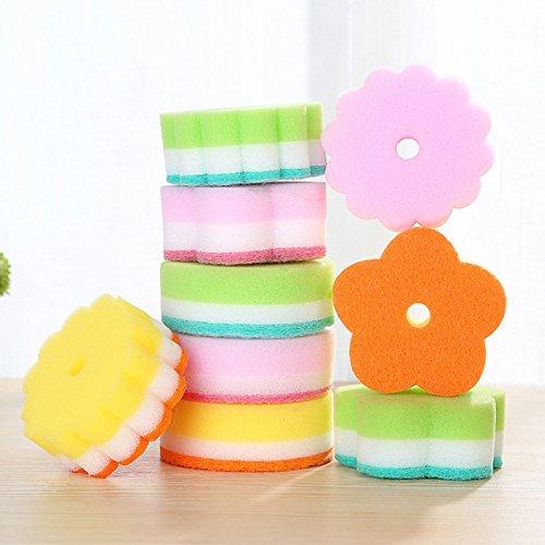 flower-shape-dishwashing-sponge-magic-rub-cloth-strong-detergency-wash-eraser-cleaner-kitchen