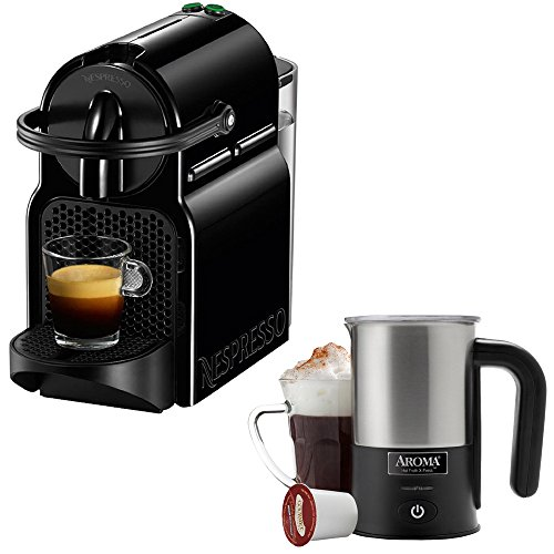Nespresso Inissia Espresso Maker - Black (D40-US-BK-NE) with Aroma Stainless Steel One Serving ...