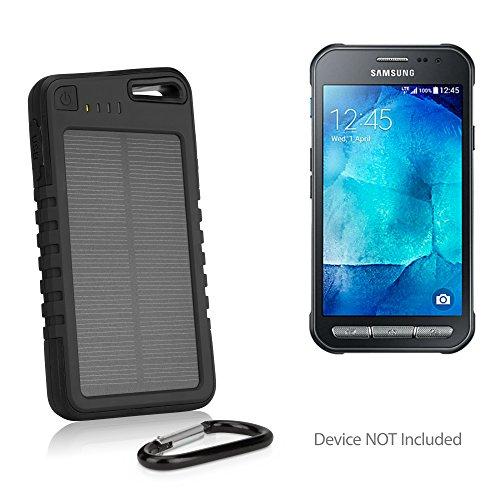 Samsung Galaxy Xcover 4 Battery, BoxWave® [Solar Rejuva PowerPack (5000mAh)] Solar Powered Backup Power Bank for Samsung Galaxy Xcover 4 - Jet Black