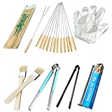 Barbecue Tools BBQ Accessories Combo Set Picnic BBQ Tools 8 PCS Set bamboo sticks disposable gloves bold roast fork brush stainless steel baking clip carbon clip tin foil