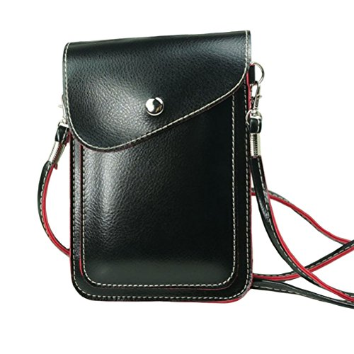 Vertical Case Leather Mobile - PU Leather 2 Layers Vertical Cellphone Pouch Bag with Shoulder Strap and Magnetic Button for Apple iPhone Samsung Galaxy and Other Smartphone Black