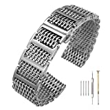 20mm/22mm24mm Shark Mesh H Link Butterfly Polished Stainless Steel Watch Band Butterfly Buckle Silver/Black (22mm, Silver)