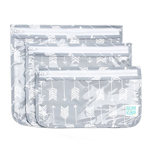 Bumkins TSA Approved Toiletry Bag, Travel Bag, PVC-Free, Vinyl-Free, Clear Front, Set of 3 – Arrows
