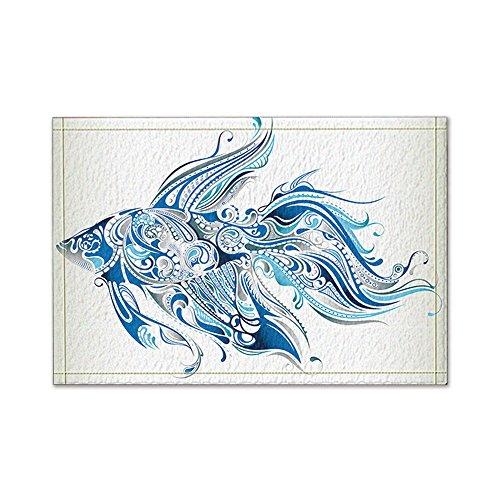durable service NYMB Paper-cut blue fish in white Bath Rug, Non-Slip Floor Entryways Outdoor Indoor Front Door Mat,60x40cm Bath Mat Bathroom Rugs