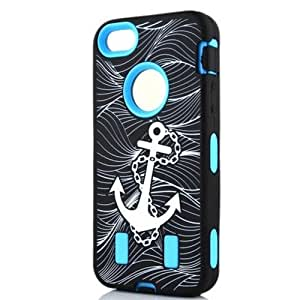 Rotibox Anchors Hard Impact Resistance Defender Case Rubberized Silicone Cover with Stylus Pen for iPhone 5 5S Blue by Maris's Diary