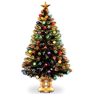 Amazon Com National Tree 48 Inch Fiber Optic Ornament Fireworks  - 36 Fiber Optic Christmas Tree