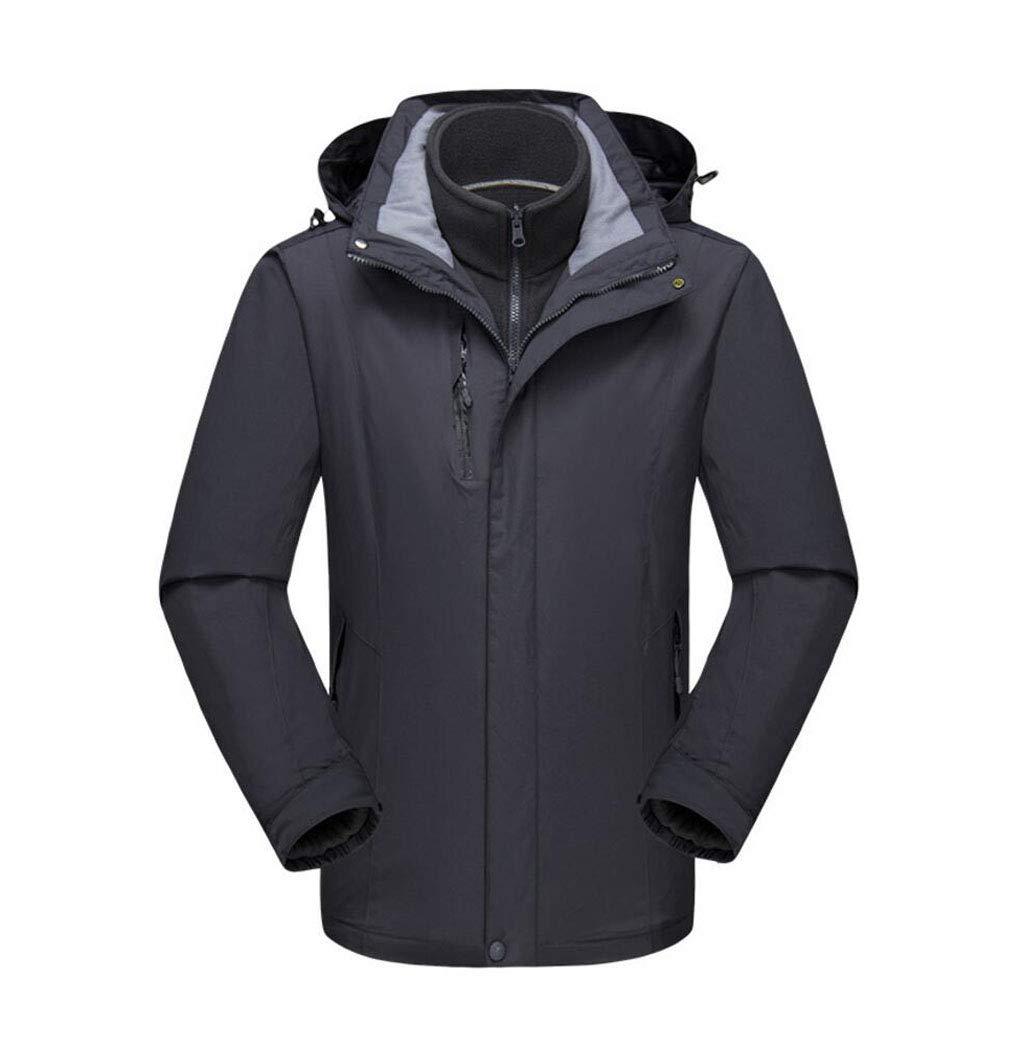 DAFREW Männer Wasserdichte Jacke, DREI-in-one Liner Bergsteigen Anzug Winddicht Regen Reise Jacke Berg Wasserdicht Ski Mantel (Farbe   grau, größe   M)