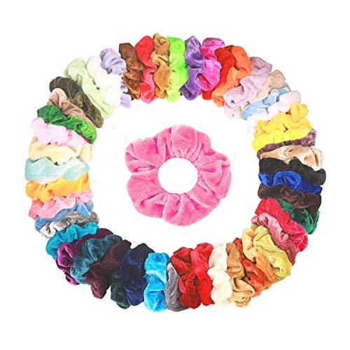 50 Stück Haargummis Samt Scrunchies Haar Gummibänder Haarbänder Elastischer Bunte Haarschmuck Haarseil für Mädchen Damen Frauen Pferdeschwanz, by CRECAD