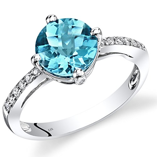 14K White Gold Swiss Blue Topaz Solitaire Diamond Accent Ring 2.5 Carats Total