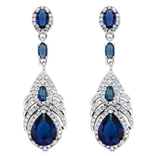 EVER FAITH 925 Sterling Silver Cubic Zirconia Peacock Feather Teardrop Earrings Sapphire Color