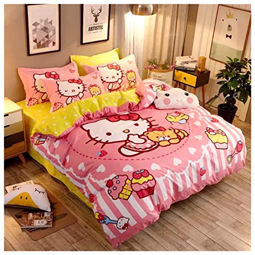 - Peachy Baby Featuring Hello Kitty Bedding Set 【Free Express Shipping】 Single Queen Twin Size 3 and 4 PiecesYellow Pink Cute Cartoon Animate Girly (B) Single Size