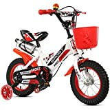 Kids Bikes,High Carbon Steel Bearing Frame Bicycle With Removable Stabilisers ,Bottle Holder And Plastic Basket ,Sizes 12'',14'',16'',18,For 3-9-Year-Old Boys And Girls, Send Pump, Installation Tool, Bell, Protection Tool,Red,14''