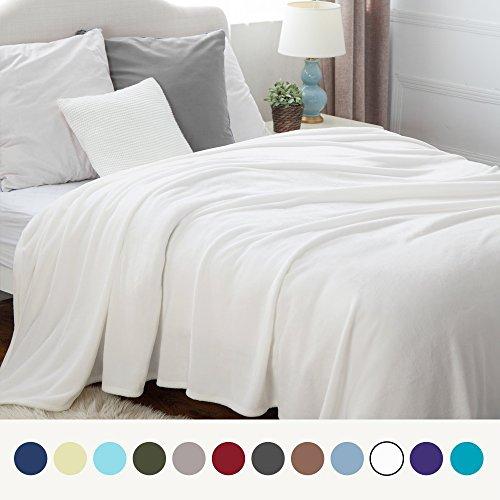 Bedsure Flannel Fleece Luxury Blanket White King Size Lightw