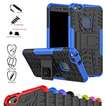 Huawei P10 Lite Case,Mama Mouth Shockproof Heavy Duty Combo Hybrid Rugged Dual Layer Grip Cover with Kickstand For Huawei P10 Lite 2017 (With 4 in 1 Free Gift Packaged),Blue