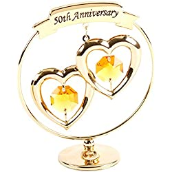 50th Anniversary Gold Plated Keepsake Gift with Swarvoski Crystals