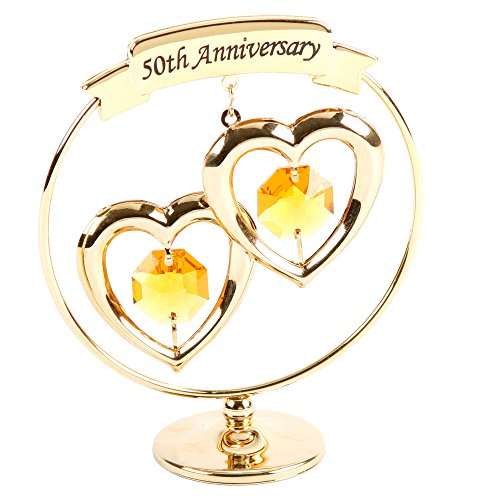 50th Anniversary Gold Plated Keepsake Gift with Swarvoski Crystal Elements By Haysom (50th Anniversary Keepsake Plate)