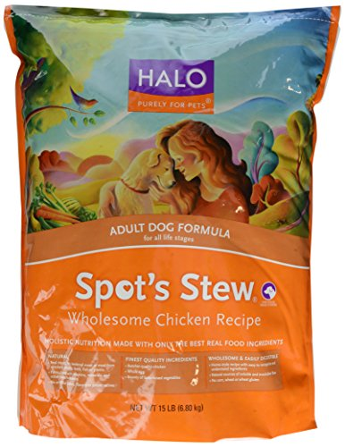 Halo Spot's Stew Natural Dry Adult Dog Food, Wholesome Chicken Recipe, 15-Pound Bag