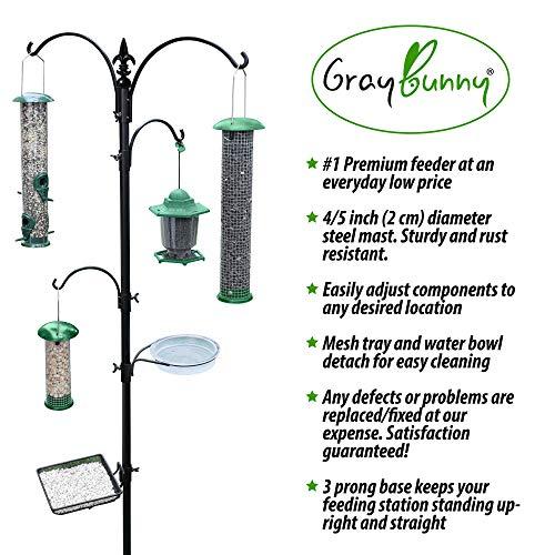 """GrayBunny GB-6844 Premium Bird Feeding Station Kit, 22"""" Wide x 91"""" Tall (82 inch Above Ground) Black, A Multi Feeder Hanging Kit & Bird Bath Attracting Wild Birds, Birdfeeder Planter Hanger"""