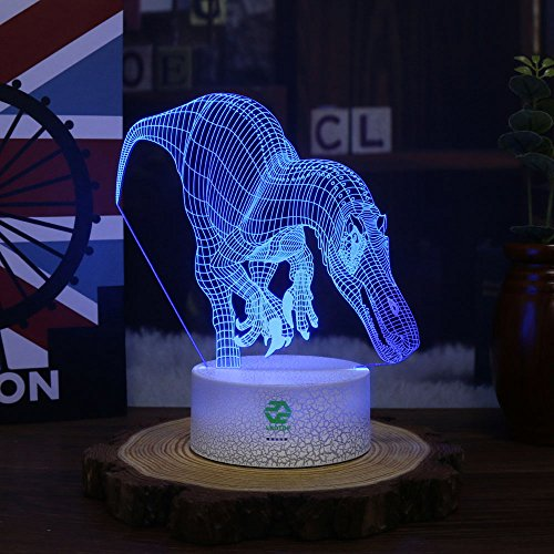 Night Light Dinosaur for Kids Illusion Birthday Gift LED Optical Desk Lamp Table Touch Nursery Walking Animals Party Western Children Room Decor 7 color Changing USB Crackle Carcharodontosaurus by LKOTDF