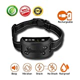 KninePal Rechargeable No Bark Collar - 2018 Upgrade Smart Chip for Enhanced Protection - Vibration And Harmless Shock(Can Be Switched Off) - Reflective and Adjustable Strap - Anti Barking Collar for Small Medium Large Dog