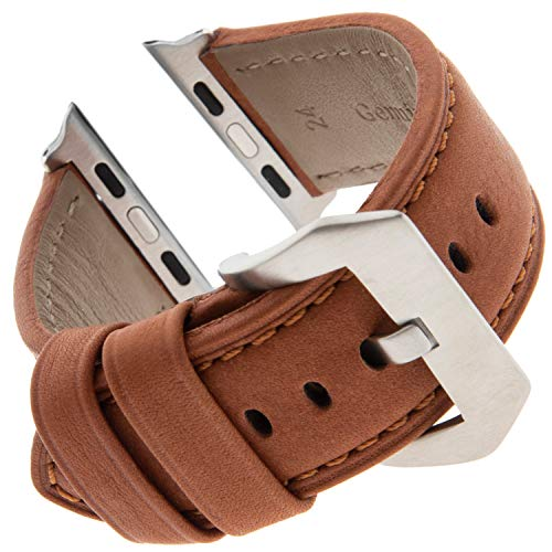Gilden for Apple 42mm Vintage Panerai Style Water-Resistant Leather Watch Band WRPAN-Smart (Fits 42mm Apple Watch, Brown) by Gilden