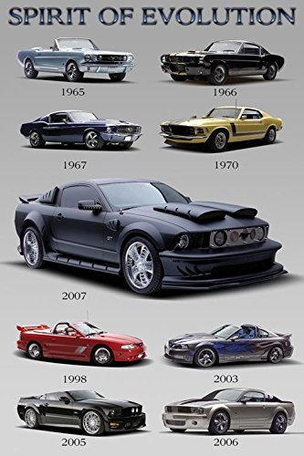 Mustang Evolution Poster - Buyartforless Ford Mustang - Spirit of Evolution 36x24 Car Automobile Art Print Poster Racers 1965-2007