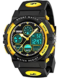 Cool Toys for 6-15 Year Old Boys, LED 50M Waterproof Sports Digital Watches Gifts for Teen Boys Birthday Christmas Gifts for 6-11 Year Old Girls Boys Stocking Fillers for Teens Kids Yellow SKUSW3