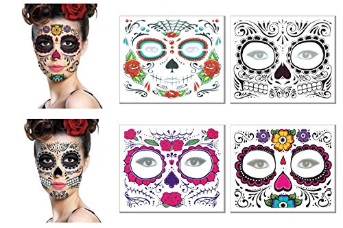 Day of The Dead Face Tattoos Kit - Sugar Skull Glitter Red Roses Temporary Tattoos Stickers Halloween Adults Kids Makeup Kit Halloween Party Favors Supplies (4 -
