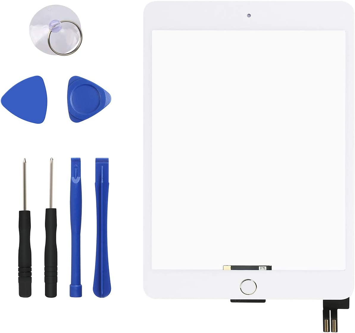 """Touch Screen Digitizer for iPad Mini 5 – 5th Generation iPad Mini 7.9"""" 2019 Front Glass Replacement with Home Button & Tool Repair Kit (A2124 A2125 A2126 A2133)(White)"""