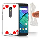 STUFF4 Gel TPU Phone Case / Cover for Motorola Moto X Play 2015 / 4 of Hearts Design / Playing Cards Collection