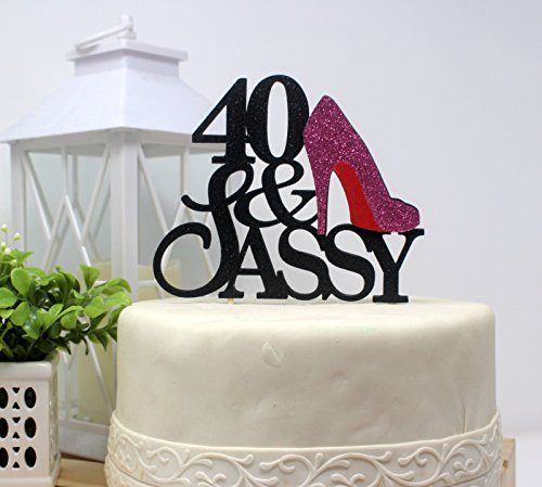 All About Details CAT40SABPI 40 and Sassy Cake Topper (Black and Pink), 6in Wide and 5in Tall with 2-pcs of 4in Wood skewers. by All About Details (Image #3)