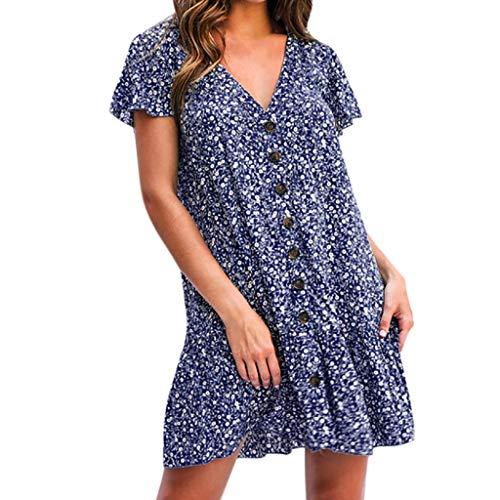 ZSBAYU Elegant Women's Dresses,Sale Causal V nack Boho Ruffle Printing Draped Dot Button Beach Holiday Mini Female Dress(Blue,M) Beading Ruffle Sweetheart Floor