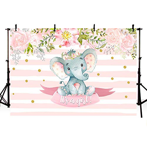 MEHOFOTO 7x5ft Sweet Elephant Girl Princess Baby Shower Party Decorations Pink Stripes Gold Polka Dots Backdrop Pink Floral It