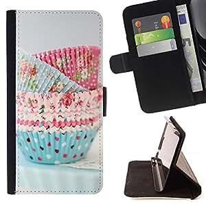 For Samsung Galaxy A3 Case , Cocinero de la magdalena de cocina pasteles Lunares- la tarjeta de Crédito Slots PU Funda de cuero Monedero caso cubierta de piel