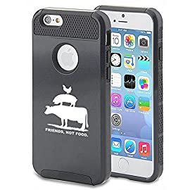 Apple-iPhone-7-Shockproof-Impact-Hard-Soft-Case-Cover-Friends-Not-Food-Vegan-Farm-Animals-Rights